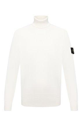 Мужской хлопковый свитер STONE ISLAND белого цвета, арт. 7515542A2 | Фото 1