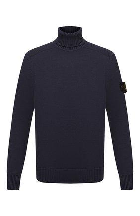 Мужской хлопковый свитер STONE ISLAND темно-синего цвета, арт. 7515542A2 | Фото 1 (Материал внешний: Хлопок; Длина (для топов): Стандартные; Рукава: Длинные; Мужское Кросс-КТ: Свитер-одежда; Принт: Без принта; Стили: Кэжуэл)