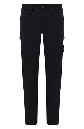 Мужские хлопковые брюки-карго STONE ISLAND темно-синего цвета, арт. 7515321L1 | Фото 1 (Материал внешний: Хлопок; Длина (брюки, джинсы): Стандартные; Случай: Повседневный; Силуэт М (брюки): Карго; Стили: Кэжуэл)