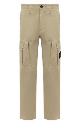 Мужские брюки-карго из хлопка и шерсти STONE ISLAND бежевого цвета, арт. 751530214 | Фото 1
