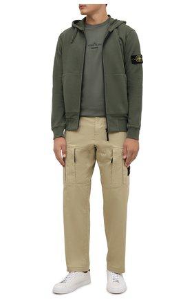 Мужская хлопковая футболка STONE ISLAND хаки цвета, арт. 75152NS91 | Фото 2