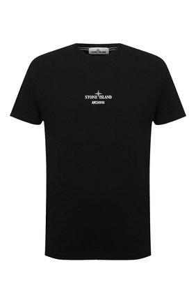Мужская хлопковая футболка STONE ISLAND черного цвета, арт. 75152NS91 | Фото 1 (Материал внешний: Хлопок; Принт: С принтом; Рукава: Короткие; Длина (для топов): Стандартные)