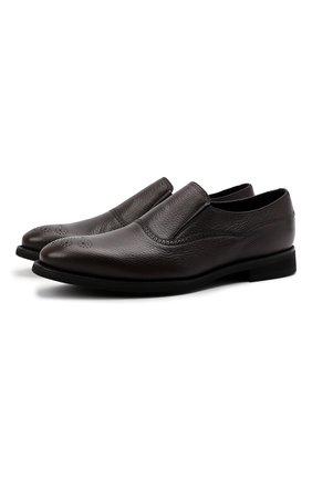 Мужские кожаные лоферы BARRETT темно-коричневого цвета, арт. 201U016.7/CERV0 ASP0RTABILE | Фото 1 (Материал утеплителя: Натуральный мех; Стили: Классический)