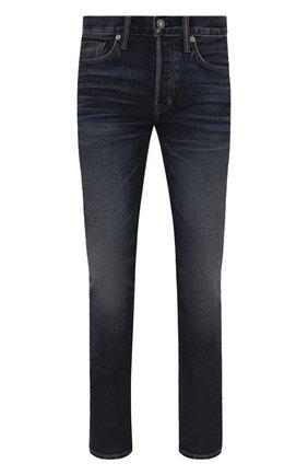 Мужские джинсы TOM FORD синего цвета, арт. BYJ31/TFD002 | Фото 1 (Материал внешний: Хлопок; Кросс-КТ: Деним; Детали: Потертости; Силуэт М (брюки): Прямые; Стили: Кэжуэл; Длина (брюки, джинсы): Стандартные)
