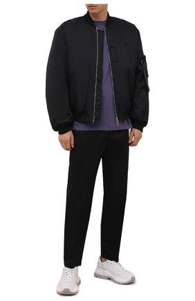 Мужская хлопковая футболка ACNE STUDIOS фиолетового цвета, арт. BL0230 | Фото 2 (Длина (для топов): Стандартные; Рукава: Короткие; Материал внешний: Хлопок; Принт: Без принта)