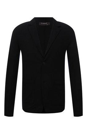 Мужской шерстяной пиджак TRANSIT черного цвета, арт. CFUTRPK202 | Фото 1 (Длина (для топов): Стандартные; Рукава: Длинные; Материал внешний: Шерсть; 1-2-бортные: Однобортные; Случай: Повседневный; Пиджаки М: Приталенный; Стили: Минимализм)