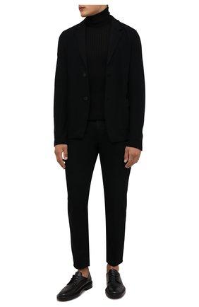 Мужской шерстяной пиджак TRANSIT черного цвета, арт. CFUTRPK202 | Фото 2 (Длина (для топов): Стандартные; Рукава: Длинные; Материал внешний: Шерсть; 1-2-бортные: Однобортные; Случай: Повседневный; Пиджаки М: Приталенный; Стили: Минимализм)