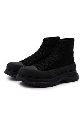 Мужские текстильные кроссовки ALEXANDER MCQUEEN черного цвета, арт. 662675/W4Q32 | Фото 1 (Материал внутренний: Натуральная кожа; Подошва: Массивная; Материал внешний: Текстиль; Стили: Гранж)