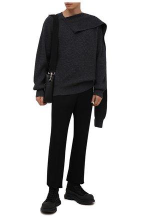 Мужские текстильные кроссовки ALEXANDER MCQUEEN черного цвета, арт. 662675/W4Q32 | Фото 2 (Материал внутренний: Натуральная кожа; Подошва: Массивная; Материал внешний: Текстиль; Стили: Гранж)