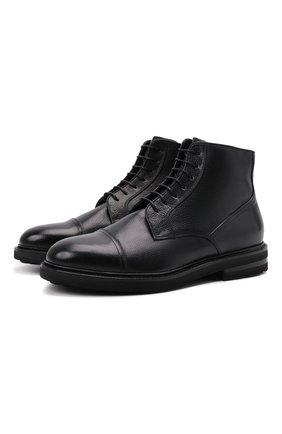 Мужские кожаные ботинки H`D`S`N BARACCO черного цвета, арт. 81521.M.1* | Фото 1 (Подошва: Плоская; Материал утеплителя: Натуральный мех; Мужское Кросс-КТ: Ботинки-обувь, зимние ботинки)