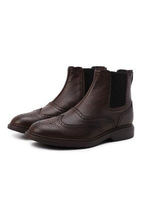 Мужские кожаные челси HOGAN коричневого цвета, арт. HXM5760DT40Q7Q | Фото 1 (Материал внутренний: Текстиль; Мужское Кросс-КТ: Сапоги-обувь, Челси-обувь; Подошва: Плоская)