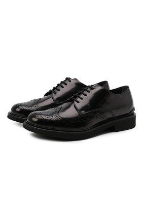 Мужские кожаные дерби TOD'S черного цвета, арт. XXM06H0EP60AKT | Фото 1 (Материал внутренний: Натуральная кожа; Стили: Классический; Мужское Кросс-КТ: Броги-обувь)