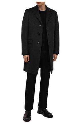 Мужской кашемировое пальто SARTORIA LATORRE темно-серого цвета, арт. A0STA U8175X | Фото 2 (Материал подклада: Купро; Материал внешний: Кашемир, Шерсть; Рукава: Длинные; Длина (верхняя одежда): До середины бедра; Стили: Классический; Мужское Кросс-КТ: пальто-верхняя одежда)