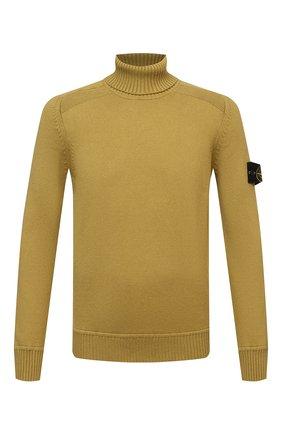 Мужской хлопковый свитер STONE ISLAND горчичного цвета, арт. 7515542A2 | Фото 1