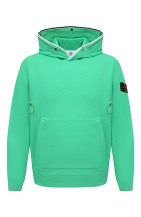 Мужской хлопковое худи STONE ISLAND зеленого цвета, арт. 751560620 | Фото 1