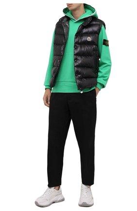 Мужской хлопковое худи STONE ISLAND зеленого цвета, арт. 751560620 | Фото 2