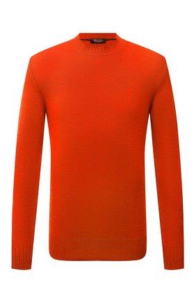 Мужской кашемировый свитер LORO PIANA оранжевого цвета, арт. FAL7220 | Фото 1 (Материал внешний: Кашемир, Шерсть; Мужское Кросс-КТ: Свитер-одежда; Принт: Без принта; Стили: Кэжуэл; Длина (для топов): Стандартные; Рукава: Длинные)