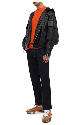 Мужской кашемировый свитер LORO PIANA оранжевого цвета, арт. FAL7220 | Фото 2 (Материал внешний: Кашемир, Шерсть; Мужское Кросс-КТ: Свитер-одежда; Принт: Без принта; Стили: Кэжуэл; Длина (для топов): Стандартные; Рукава: Длинные)
