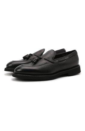 Мужские кожаные лоферы DOUCAL'S черного цвета, арт. DU1020VER0UM019NN00 | Фото 1 (Материал утеплителя: Натуральный мех; Стили: Классический)