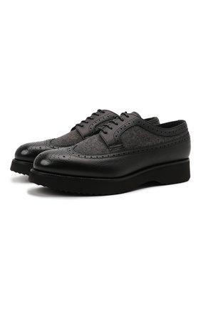 Мужские комбинированные дерби DOUCAL'S черного цвета, арт. DU1270DAK0PT208NN00 | Фото 1 (Материал внутренний: Текстиль, Натуральная кожа; Материал внешний: Текстиль; Стили: Классический; Мужское Кросс-КТ: Броги-обувь)