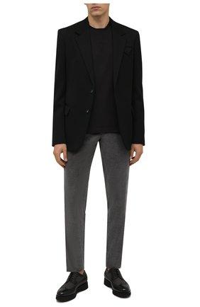 Мужские комбинированные дерби DOUCAL'S черного цвета, арт. DU1270DAK0PT208NN00 | Фото 2 (Материал внутренний: Текстиль, Натуральная кожа; Материал внешний: Текстиль; Стили: Классический; Мужское Кросс-КТ: Броги-обувь)