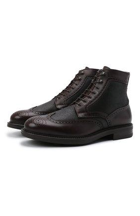 Мужские кожаные ботинки W.GIBBS темно-коричневого цвета, арт. 3169011/1514 | Фото 1 (Материал утеплителя: Натуральный мех; Мужское Кросс-КТ: Ботинки-обувь, зимние ботинки; Подошва: Плоская)