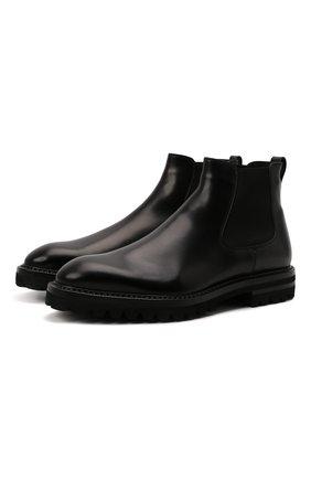 Мужские кожаные челси W.GIBBS черного цвета, арт. 7260004/2573 | Фото 1 (Подошва: Плоская; Материал утеплителя: Натуральный мех; Мужское Кросс-КТ: Сапоги-обувь, Челси-обувь, зимние сапоги)