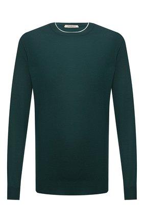 Мужской джемпер из шерсти и кашемира FIORONI зеленого цвета, арт. MK00T0A1 | Фото 1 (Материал внешний: Шерсть; Мужское Кросс-КТ: Джемперы; Вырез: Круглый; Рукава: Длинные; Стили: Кэжуэл; Принт: Без принта; Длина (для топов): Стандартные)