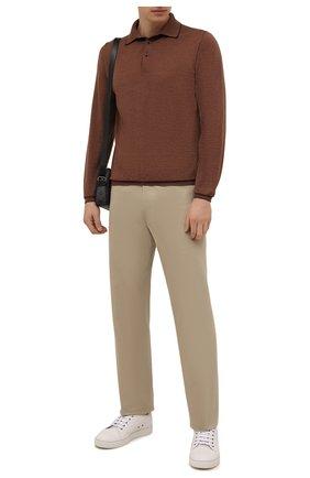 Мужское поло из шерсти и кашемира FIORONI светло-коричневого цвета, арт. MK00T0C1 | Фото 2 (Материал внешний: Шерсть; Застежка: Пуговицы; Рукава: Длинные; Кросс-КТ: Трикотаж; Стили: Кэжуэл; Длина (для топов): Стандартные)