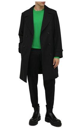 Мужские хлопковые брюки EMPORIO ARMANI черного цвета, арт. 6K1PG5/1NPQZ | Фото 2 (Материал внешний: Хлопок; Длина (брюки, джинсы): Стандартные; Случай: Повседневный; Стили: Кэжуэл)