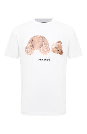 Мужская хлопковая футболка PALM ANGELS белого цвета, арт. PMAA001F21JER0230160 | Фото 1 (Длина (для топов): Стандартные; Рукава: Короткие; Материал внешний: Хлопок; Принт: С принтом)