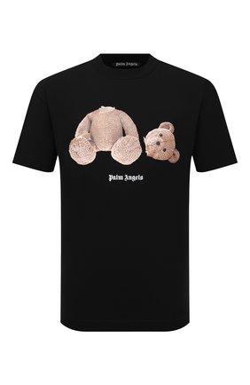 Мужская хлопковая футболка PALM ANGELS черного цвета, арт. PMAA001F21JER0231060 | Фото 1 (Материал внешний: Хлопок; Принт: С принтом; Рукава: Короткие; Длина (для топов): Стандартные)