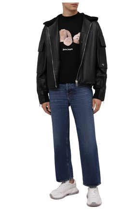 Мужская хлопковая футболка PALM ANGELS черного цвета, арт. PMAA001F21JER0231060 | Фото 2 (Материал внешний: Хлопок; Принт: С принтом; Рукава: Короткие; Длина (для топов): Стандартные)