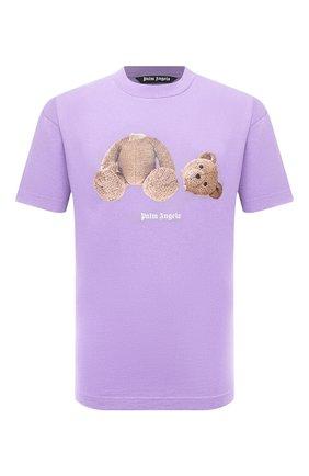 Мужская хлопковая футболка PALM ANGELS сиреневого цвета, арт. PMAA001F21JER0233660   Фото 1 (Материал внешний: Хлопок; Принт: С принтом; Рукава: Короткие; Длина (для топов): Стандартные)