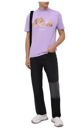 Мужская хлопковая футболка PALM ANGELS сиреневого цвета, арт. PMAA001F21JER0233660   Фото 2 (Материал внешний: Хлопок; Принт: С принтом; Рукава: Короткие; Длина (для топов): Стандартные)