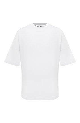 Мужская хлопковая футболка PALM ANGELS белого цвета, арт. PMAA002F21JER0020110   Фото 1 (Длина (для топов): Стандартные; Материал внешний: Хлопок; Принт: С принтом; Рукава: Короткие)