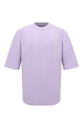 Мужская хлопковая футболка PALM ANGELS сиреневого цвета, арт. PMAA002F21JER0033601 | Фото 1 (Материал внешний: Хлопок; Принт: С принтом; Длина (для топов): Стандартные; Рукава: Короткие)
