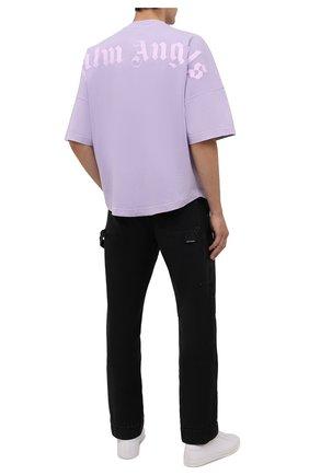 Мужская хлопковая футболка PALM ANGELS сиреневого цвета, арт. PMAA002F21JER0033601 | Фото 2 (Материал внешний: Хлопок; Принт: С принтом; Длина (для топов): Стандартные; Рукава: Короткие)