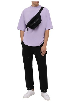 Мужские хлопковые брюки PALM ANGELS черного цвета, арт. PMCA099F21FAB0011010 | Фото 2 (Материал внешний: Хлопок; Длина (брюки, джинсы): Стандартные; Случай: Повседневный; Стили: Гранж)