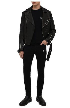 Мужские джинсы PALM ANGELS черного цвета, арт. PMYA012F21DEN0031001 | Фото 2 (Материал внешний: Хлопок; Кросс-КТ: Деним; Силуэт М (брюки): Узкие; Стили: Гранж; Длина (брюки, джинсы): Стандартные)
