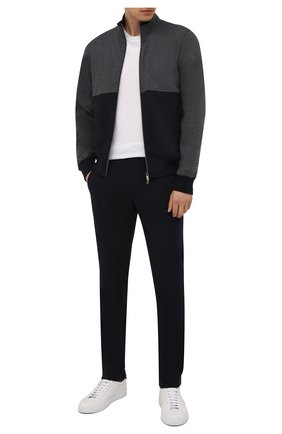 Мужской спортивный костюм из хлопка и кашемира CAPOBIANCO темно-синего цвета, арт. 11MT28.M000. | Фото 1