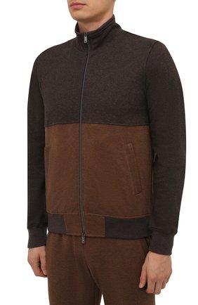 Мужской спортивный костюм из хлопка и кашемира CAPOBIANCO коричневого цвета, арт. 11MT28.M000. | Фото 2