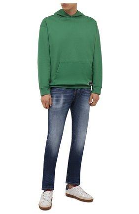 Мужские джинсы DIESEL синего цвета, арт. A03336/09A92 | Фото 2 (Материал внешний: Хлопок; Кросс-КТ: Деним; Детали: Потертости; Силуэт М (брюки): Прямые; Стили: Кэжуэл; Длина (брюки, джинсы): Стандартные)