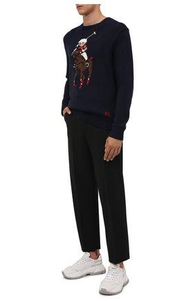 Мужской свитер из хлопка и льна POLO RALPH LAUREN синего цвета, арт. 710834685 | Фото 2 (Материал внешний: Лен, Хлопок; Длина (для топов): Стандартные; Рукава: Длинные; Мужское Кросс-КТ: Свитер-одежда; Принт: С принтом; Стили: Кэжуэл)