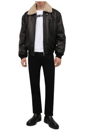 Мужской кожаный бомбер OFF-WHITE черного цвета, арт. 0MJA074F21LEA001 | Фото 2 (Длина (верхняя одежда): Короткие; Рукава: Длинные; Материал подклада: Вискоза; Кросс-КТ: Куртка; Мужское Кросс-КТ: Кожа и замша; Принт: Без принта; Стили: Гранж)