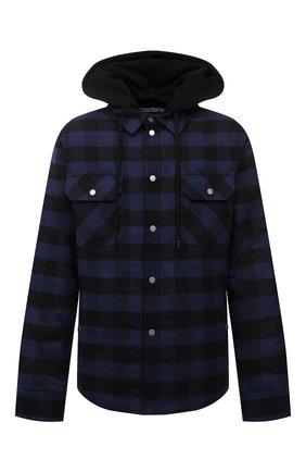 Мужская хлопковая куртка OFF-WHITE темно-синего цвета, арт. 0MEA236F21FAB001 | Фото 1 (Материал подклада: Синтетический материал; Длина (верхняя одежда): Короткие; Рукава: Длинные; Материал внешний: Хлопок, Синтетический материал; Кросс-КТ: Куртка, Ветровка; Стили: Гранж)