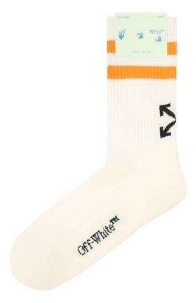 Мужские хлопковые носки OFF-WHITE кремвого цвета, арт. 0MRA040F21KNI001 | Фото 1 (Материал внешний: Хлопок; Кросс-КТ: бельё)