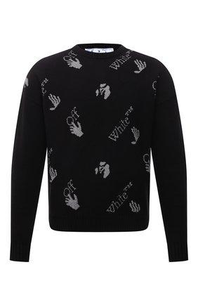 Мужской хлопковый свитер OFF-WHITE черного цвета, арт. 0MHE095F21KNI001 | Фото 1 (Рукава: Длинные; Длина (для топов): Стандартные; Материал внешний: Хлопок; Мужское Кросс-КТ: Свитер-одежда; Принт: С принтом; Стили: Гранж)