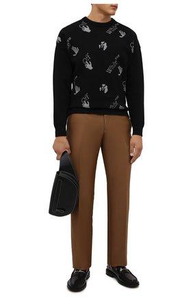 Мужской хлопковый свитер OFF-WHITE черного цвета, арт. 0MHE095F21KNI001 | Фото 2 (Рукава: Длинные; Длина (для топов): Стандартные; Материал внешний: Хлопок; Мужское Кросс-КТ: Свитер-одежда; Принт: С принтом; Стили: Гранж)