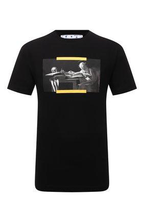 Мужская хлопковая футболка OFF-WHITE черного цвета, арт. 0MAA027F21JER014 | Фото 1